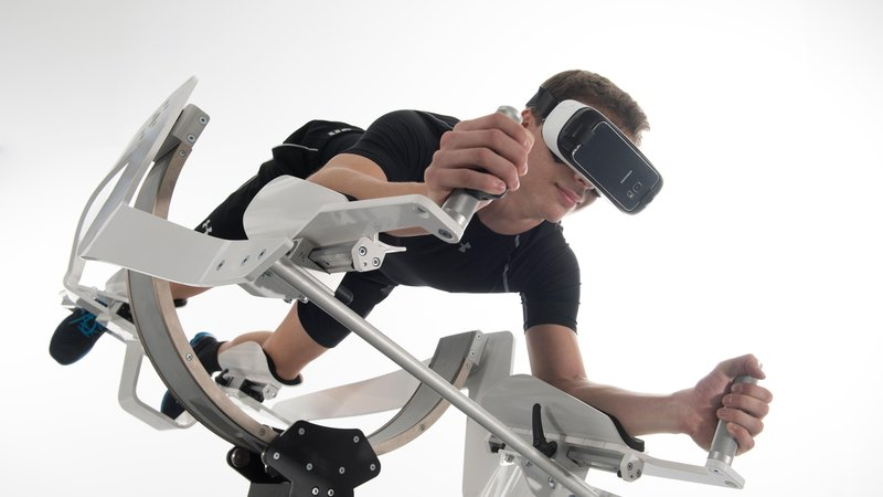The ICAROS virtual reality flight simulator doubles as an excercise machine.