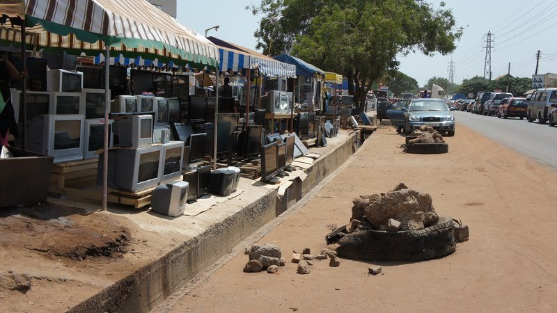 Vendors outside of Ghana's Port of Tema sell imported, working goods from around the world, including the United States. Some are repaired and refurbished in Ghana. Most are working when imported.