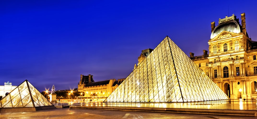 The famous Louvre museum, with the glass entrance designed by I.M. Pei