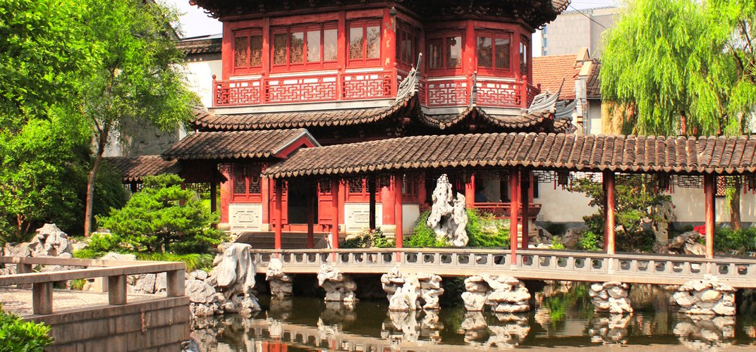 Pavilion in the Yu Yuan gardens of Shanghai