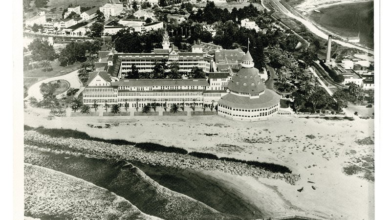 On July 26, 1954, San Diego's famous Hotel del Coronado had a close encounter with an unguided Cutlass.