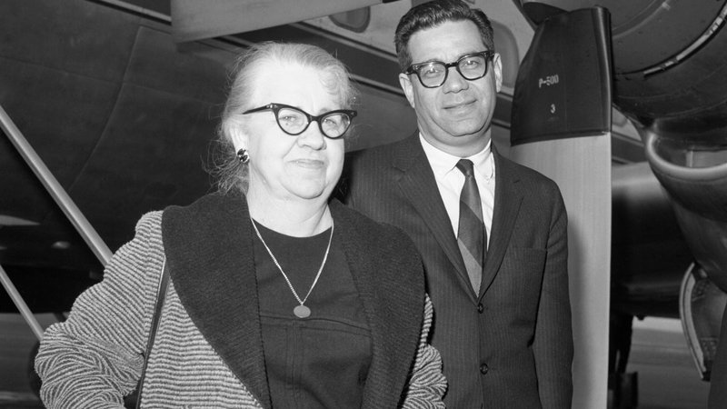 Marguerite Oswald, mother of slain accused presidential assassin Lee Harvey Oswald, is shown in New York with attorney Mark Lane on February 17, 1964, after testifying in Washington before the Warren Commission.