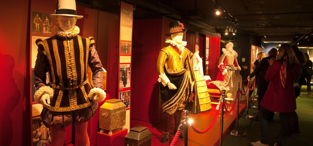 Exhibit of theatrical costumes in the Globe Theatre's museum. Credit: London On View