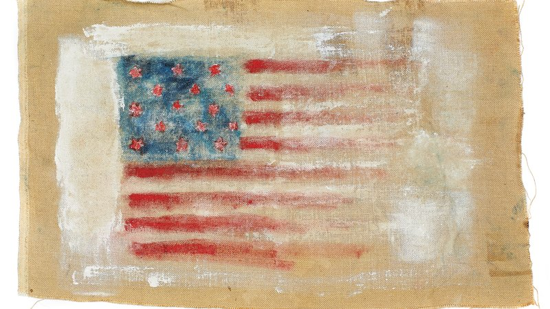 From Ralph Lauren Studio, the American designer's creative team, comes a banner tribute reminiscent of a homespun tapestry: oil paint on burlap, about 1 1/2 by 2 1/2 feet.