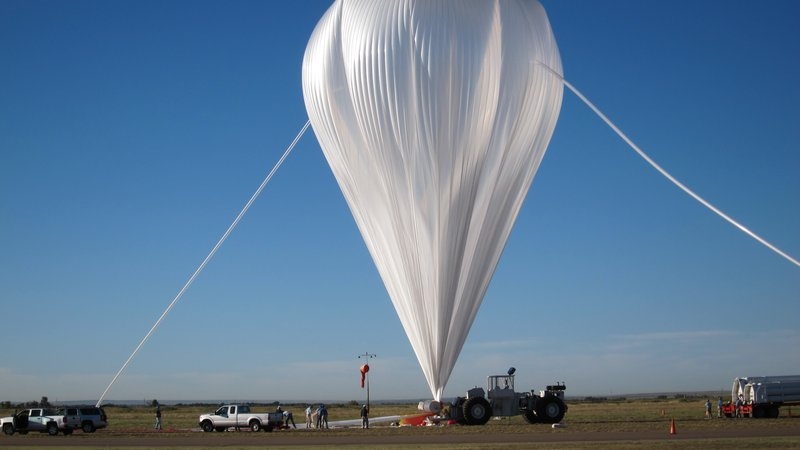 A scientific balloon holds NASA's Exposing Microorganisms In The Stratosphere (E-MIST) experiment shortly before launch Aug. 24, 2014. The experiment exposed Earth bacteria to the upper atmosphere to learn whether they could survive the harsh conditions.