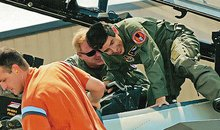 Mark Lewis shown here exiting an F-15.