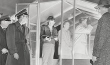 Kernersville North Carolina observers and Air Force reps inspect a post in 1958