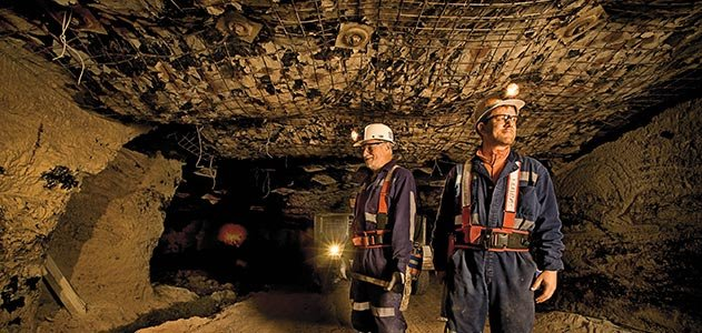 John Nelson and Scott Elrick inspect a mine shaft
