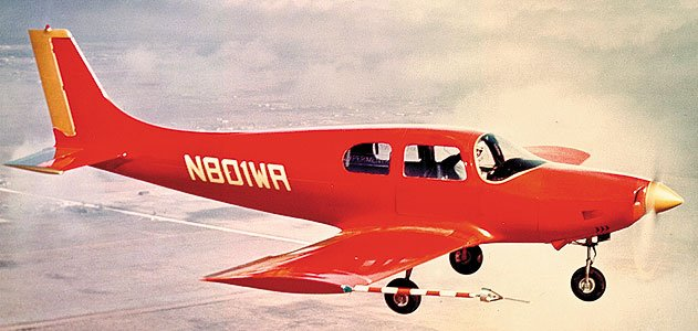Leo Windecker's proof-of- concept Fibaloy aircraft used fixed landing gear and aluminum control surfaces to cut down on development time and costs.