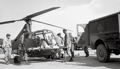 For the wounded on Luzon in 1945, the Sikorsky R-6A transport doubled as an ambulance.