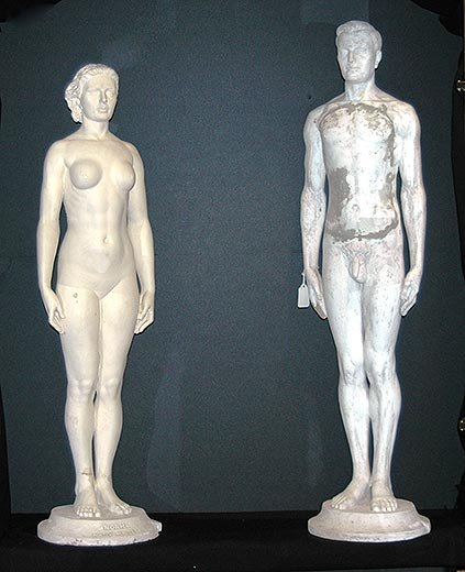 Half-life size plaster models of Norma and Norman