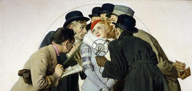 Norman Rockwell Movie Starlet and Reporters
