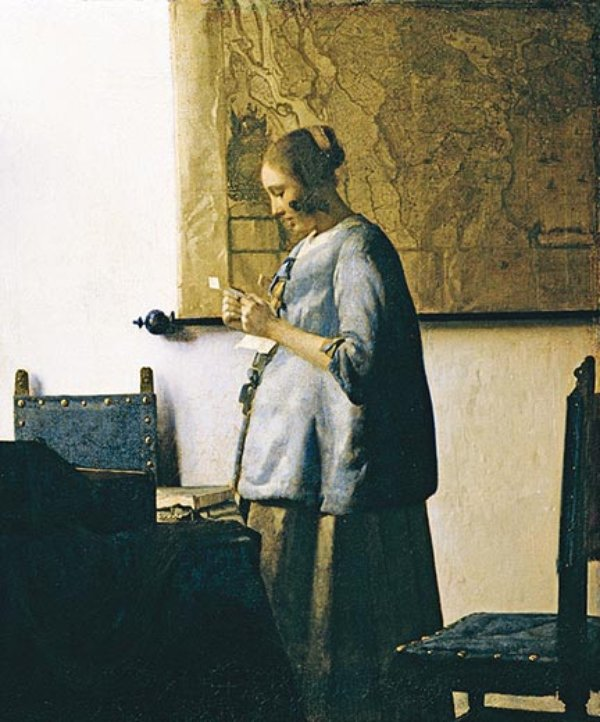 woman in blue reading a letter mad about seashells science smithsonian 25664 | Vermeer Woman in Blue Reading a Letter 7.jpg 600x0 q85 upscale