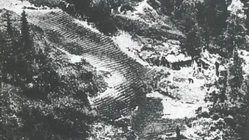 The Lykovs' homestead seen from a Soviet reconnaissance plane, 1980.