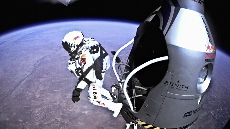 """""""Sometimes you have to go up really high to understand how small you really are,"""" Baumgartner said before jumping from his pressurized gondola some 24 miles above Earth. Just nine minutes later, his free fall was over, and he had set three world records."""