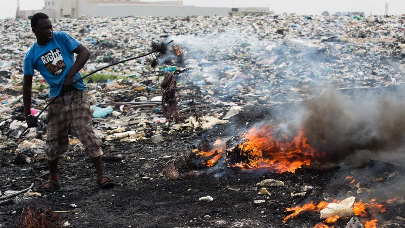 At Agbogbloshie, the fastest, cheapest, and favored way to recycle copper from insulated wire is to burn it.