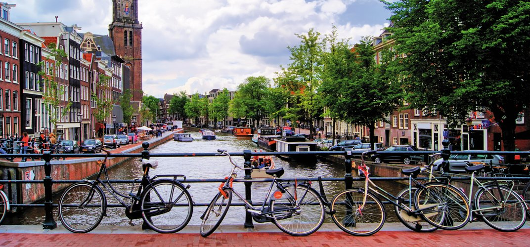 Bikes along the canal, Amsterdam