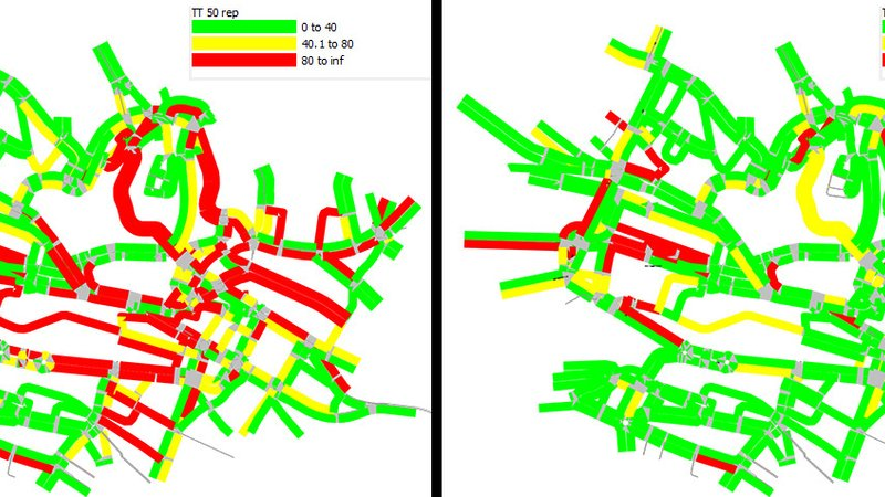 Colored lines represent the main roads in Lausanne, Switzerland. The left map, with conventional traffic light programming, has many red lines that represent long commutes. The right map, which uses the researcher's improved system, has many green lines that represent short commutes.