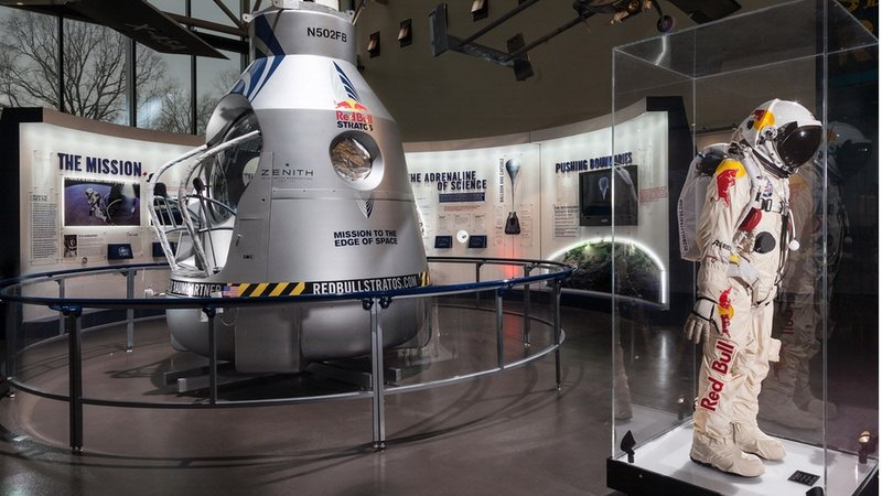 The capsule, pressure suit and parachute used by Felix Baumgartner in the Red Bull Stratos mission is on view at the National Air and Space Museum through May 26, before going on permanent display at the museum's Steven F. Udvar-Hazy Center in Chantilly, Virginia.