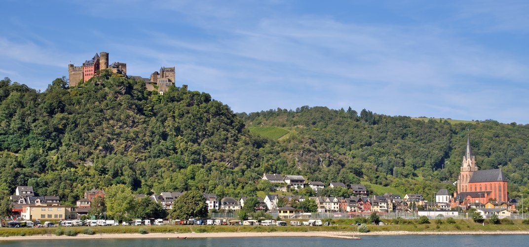 Hilltop medieval castle overlooking the Rhine River near Oberwesel