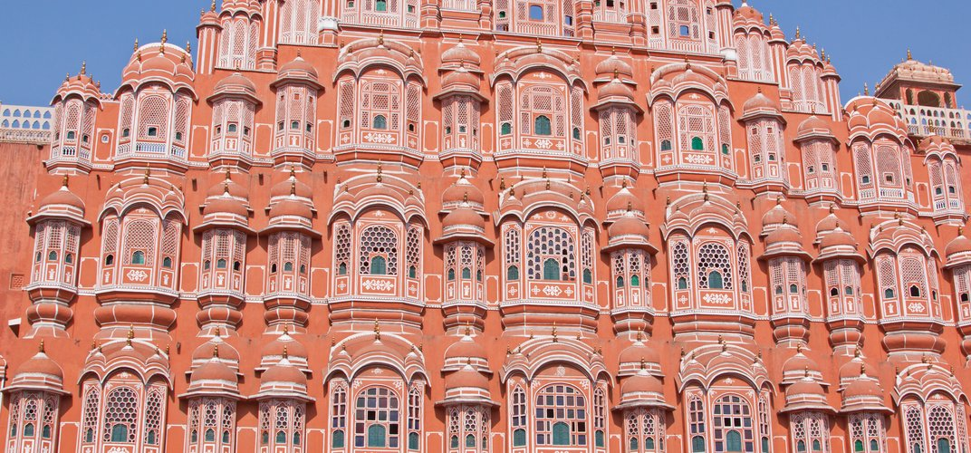 The newly restored Palace of the Winds in Jaipur