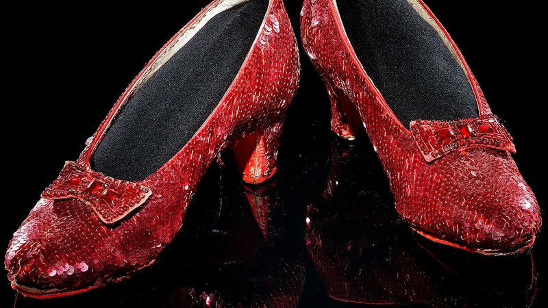 Ruby slippers worn by Judy Garland's character Dorothy in the 1939 movie <i>The Wizard of Oz</i>.