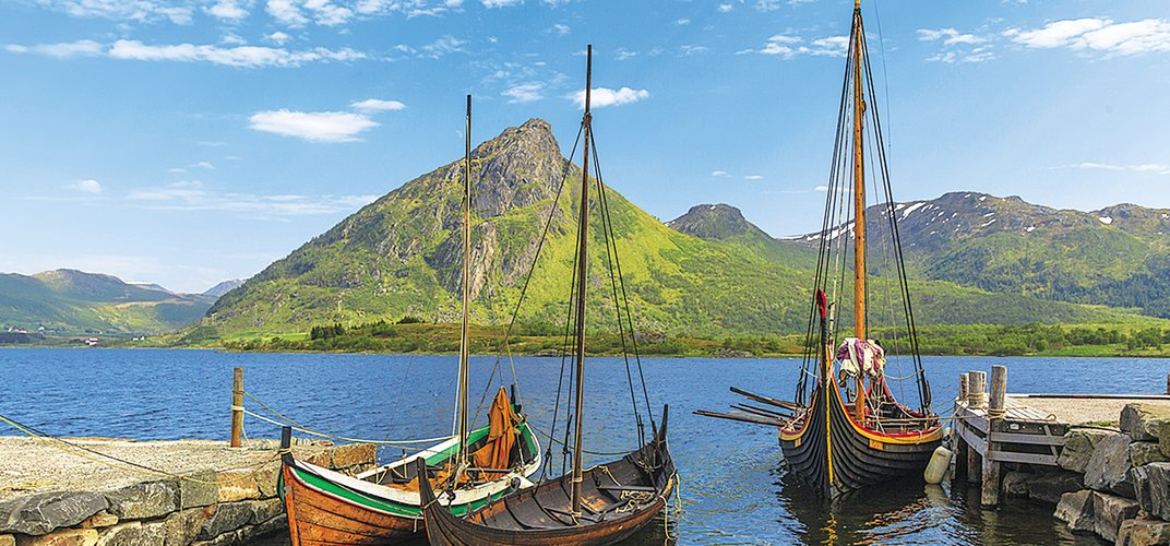 Traditional Viking boats in Norway