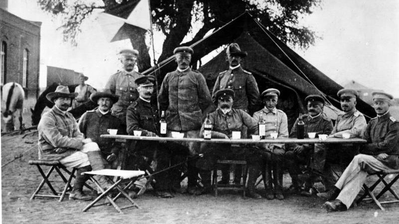 Lieutenant General Lothar von Trotha, seated fourth from the left, brought a new regime to South-West Africa