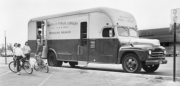 Bookmobile in community