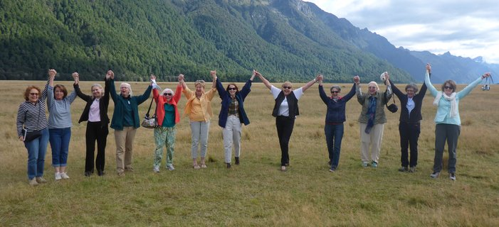 Smithsonian travelers in Fiordland National Park on New Zealand's South Island. Credit: Ed Kanze
