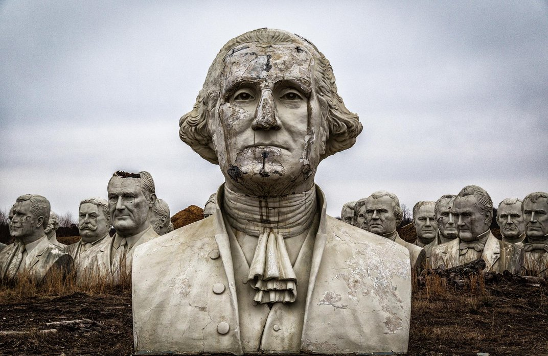 How 43 Giant Crumbling Presidential Heads Ended Up In A