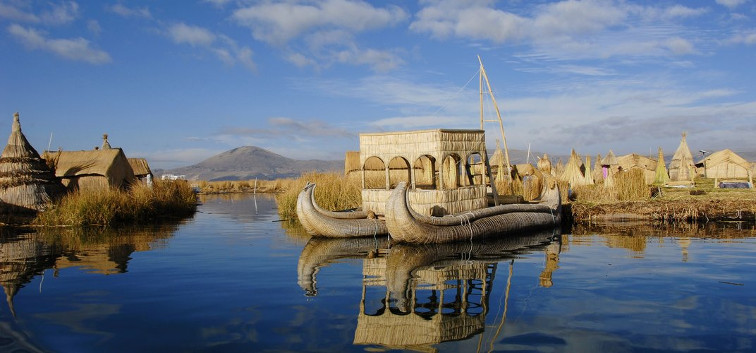 The reed islands of the Uros people on Lake Titicaca