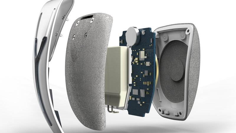 Within the Spire are two sensors, a battery, and a coil for wireless charging.