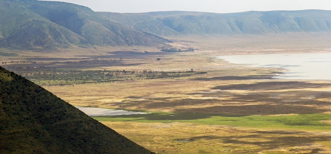The landscape of Ngorongoro Crater