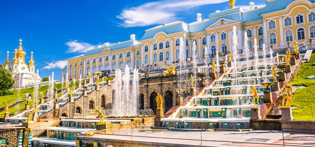 The palace and fountains at the Romanov summer palace at Peterhof