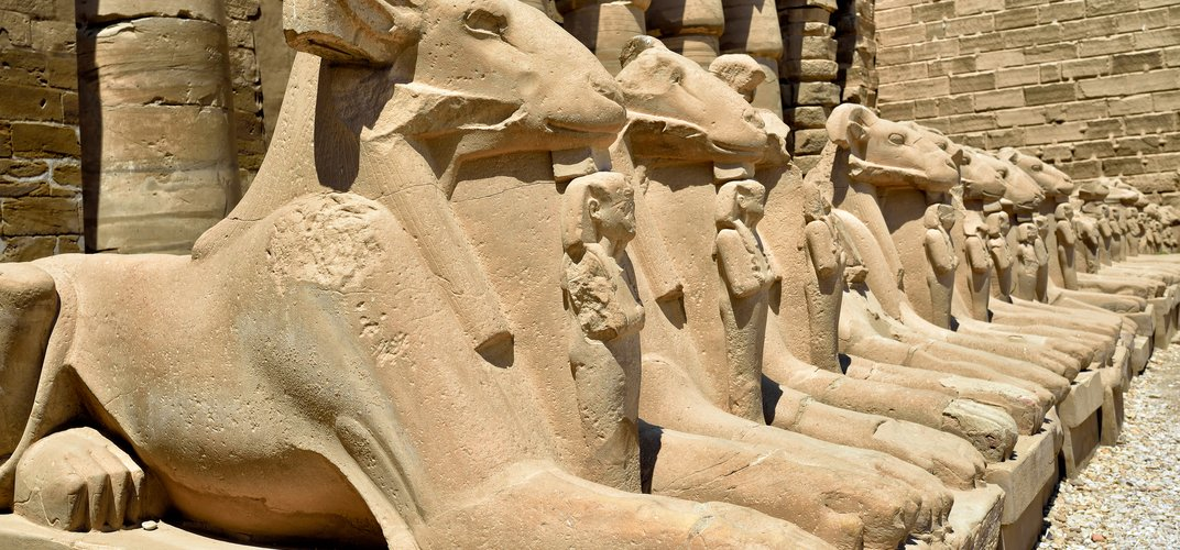 Row of statues at Karnak Temple, Luxor