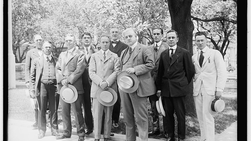 The staff of the Alien Property Custodian's office. A. Michel Palmer stands in the front row, third from the left.