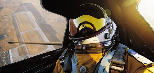A pilot takes a self-portrait aboard the U-2.