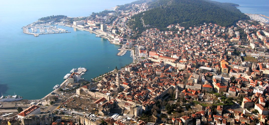 Aerial view of Split, with the remains of Diocletian's Palace