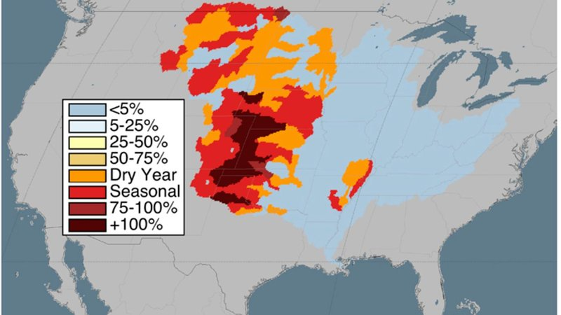 An example of a more detailed and localized measure of freshwater scarcity risk that uses data from dry seasons and dry years. Blue areas have the lowest areas of risk because they use less than five percent of their annually renewable water. The darkest areas use more than 100 percent of their renewable freshwater because they tap groundwater that isn't replenished.