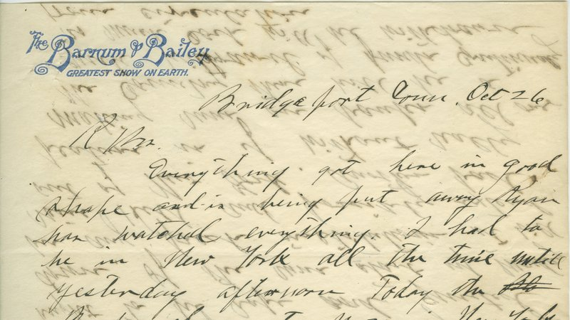 Otto Ringling's 1907 letter to his brothers proposing they purchase Barnum & Bailey Circus.