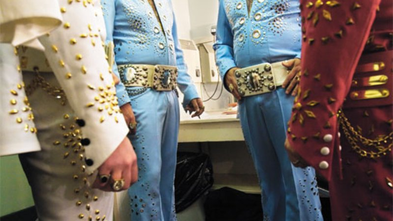 Nordeman's project has taken him all over the world (backstage camaraderie in Blackpool, England). He says it's surprising how Elvis appeals to people everywhere. Says Nordeman: