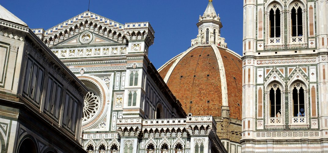 The famous Duomo or cathedral in Florence, featuring the campanile, Baptistery, and Brunelleschi's Dome