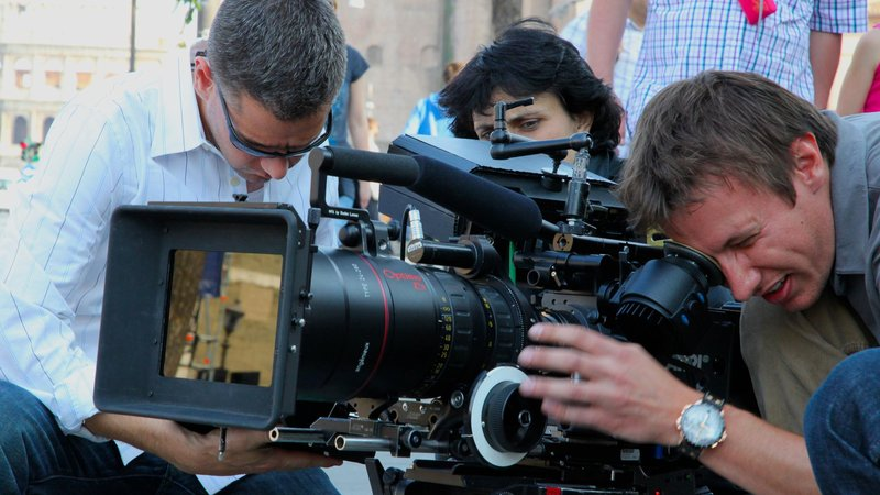 Director Brian J. Terwilliger (left) and cinematographer Andrew Waruszewski  filming with a Digital Cinema Camera in Rome, Italy. (Matt Reilly/National Geographic)