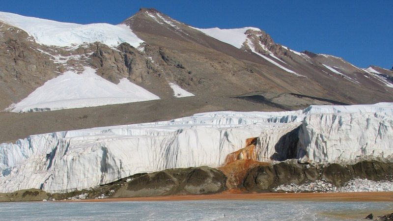A view of Blood Falls from Lake Bonney.