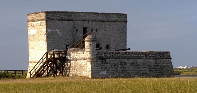 Fort Matanzas, about fifty feet long on each side, was constructed of coquina, a local stone formed from clam shells and quarried from a nearby island.