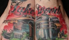 A tattoo of the word Lakewood on Damon Conklins feet